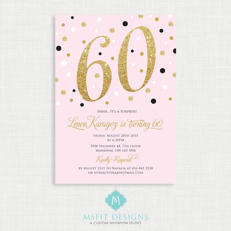 Printable Birthday Invitation- 60th birthday invitation- Party ...