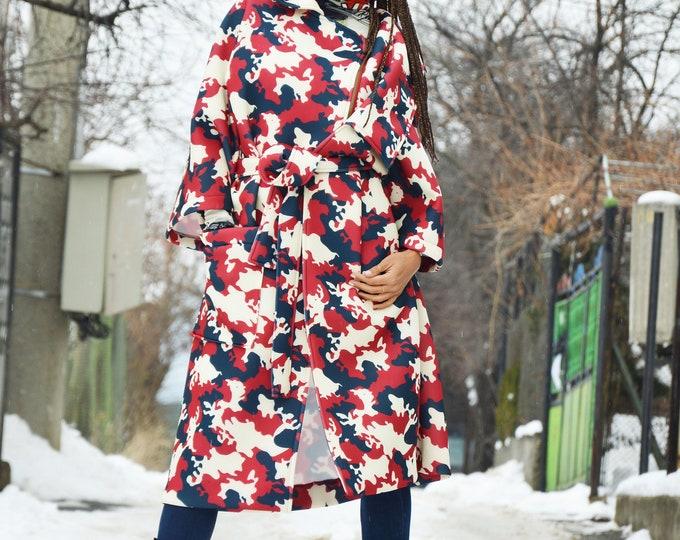 Red Zipper Camouflage Neoprene Coat, Asymmetrical Winter Coat, Maxi Pocket Coat, Extravagant Sleeves by SSDfashion