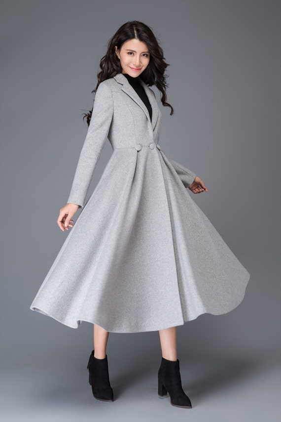 wool coat fit coat coat dress winter coat and coats coat coat princess grey womens maxi wool jackets coat coat C996 long flare qxR4tz