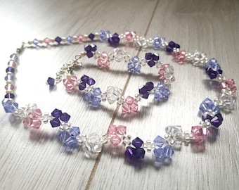 Jewelry Set Multicolor | Necklace + Bracelet |  Purple, pink, white Swarovski crystals