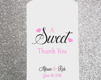 W38, A Sweet Thank You, Wedding Candy Bag, Wedding Candy Buffet, Candy Favor Bags, Treat Bags, Kraft Bags, Personalized bags, Paper Bag
