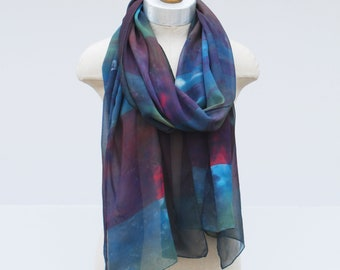 silk chiffon scarf by 88editions, hand painted dark stripes, sheer spring wrap