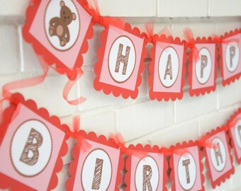 Teddy bear banner, happy birthday banner