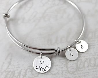 Mother's Day gift, Custom name bracelet, expandable bangle bracelet, personalized expandable bracelet, custom hand stamped, mother gift