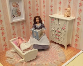 1:12 scale dollhouse miniature nursery room box with Mother & Baby dolls
