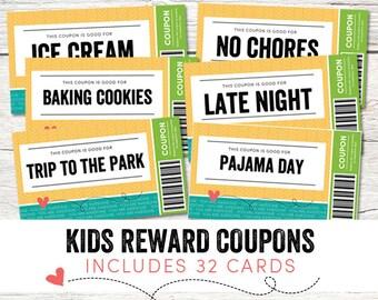 Kids Reward Coupons - Love Coupons - Instant Download - Printable