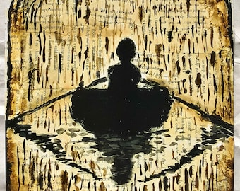 Rowboat silhouette art print (small)