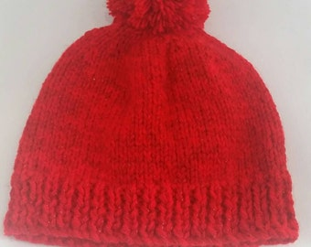 glitter red bobble hat - red pom pom hat - sparkly red hat