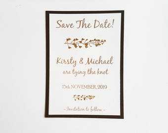 Save The Dates, Wedding Save The Dates, Brown Save the Dates, Wedding Invitations, Save The Date Cards