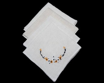 4 Linen Napkins for Bridge, Tea, or Luncheon with Hand Embroidered Black Eyed Susans, Ivory Linen, Mid Century Decor, Dining, 10.75 Inches