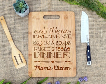 Mom's Kitchen Cutting Board, Cheese Board, Laser Engraved, Bamboo, Mother's Day, Gift for Mom, Mom Gift, Mom Present, Mom Birthday, Custom