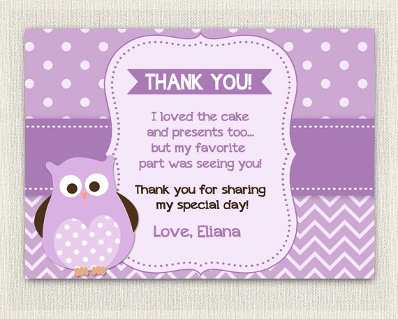 Purple owl birthday thank you card printable download like this item bookmarktalkfo Image collections