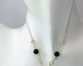 Golden sheen Rainbow Obsidian necklace