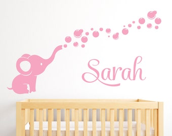 Personalized Name Wall Decal Elephant - Elephant Bubbles Nursery Wall Decal Baby Room Decor