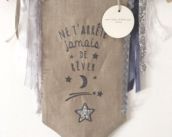 DECORATIVE EMBROIDERED BANNER