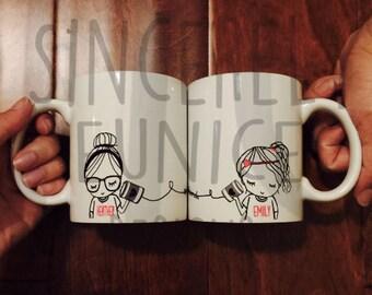 Best Friend Long Distance Coffee Mug Original SE design (TWO MUGS)