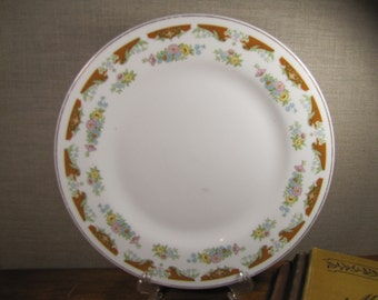 G Large Dinner Plate - Rust Color and Floral Border - Made in China
