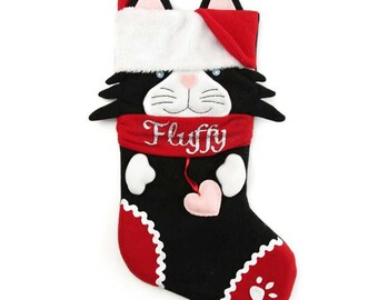 Personalised Fun Black Cat Christmas Stocking
