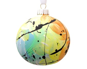 Hand Painted Bauble // Christmas Decoration // Yellow, Orange and Blue // God Colours Collection // Ceramic Ornament