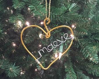 Personalized Ornaments, Christmas Ornament, Gold Heart Ornament, Babys First Christmas Ornament, Keepsake Ornament, Custom Ornament