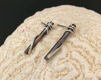 Copper Earrings Wrapped with Sterling Silver, Mixed Metal Bar Studs, Long Bohemian Dangles, Rustic Brown Nature Inspired