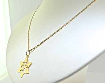 Antique 14k Yellow Gold Star Of David Pendant