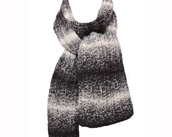 Hand Knit Scarf - Black, Grey & White Tweed Stripes Alpaca Trail Ridge Rib