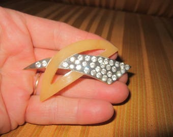 Vintage 1930s Art Deco Stylized Celluloid and Rhinestone Brooch