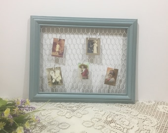 Cottage Chic Frame with Chicken Wire ~ Chicken Wire Photo and Note Display ~ Blue Frame ~ Photo Display ~ Country Home Display