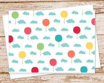 balloons note card set . birthday balloon cards, notecards .  clouds, sky . greeting . blank cards . folded stationery stationary . set of 6