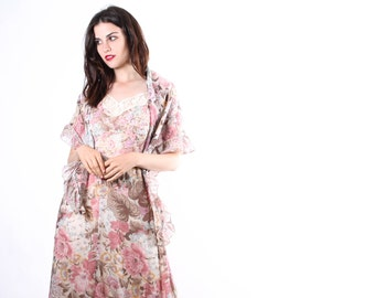 1970s Bohemian Floral Maxi Dress  -  70s Boho Dress -  1970s Floral Wedding Dress - The November Sky Dress - 6172