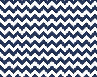 Navy Small Chevron Fabric from Riley Blake Designs - 1/2 Yard - Half Yard - Navy Chevron