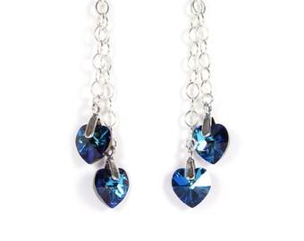 Blue green crystal heart earrings, Swarovski crystal, blue green earrings, teal earrings, sterling silver chain, sterling silver earwires