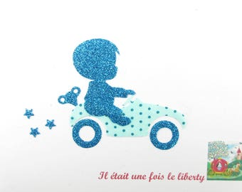 Applied fusible boy car fabric turquoise polka dot & flex on glittery patch pixel pattern boy fusible badge