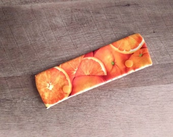 "OOAK Oranges DPN Cozy for 6-7"" Knitting Needles! Easy Snap Closure"