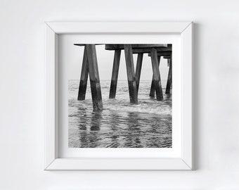 Black and white photo art - Pier wall decor - Tybee Island beach print - Coastal ocean photograph - Large art photo gift - 8x8 12x12 48x48