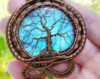 Labradorite tree of life pendant necklace