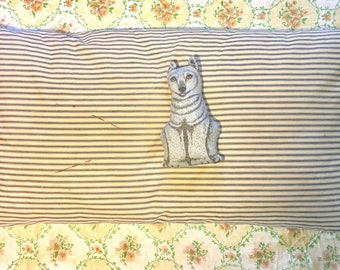 Vintage Feather Down Bed Pillow in Original Ticking #1. True Rest. Nestle In. Well Worn.