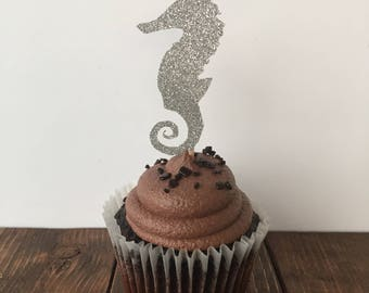 Under the Sea Cupcake Topper / Under the Sea Party / Seahorse Cupcake Topper / Mermaid Party / Glitter Cupcake Toppers