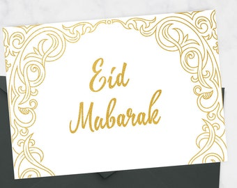 Eid Mubarak Card - Eid Card Set - Eid Note Cards - Eid Gift Cards - Islamic Stationery - Muslim Stationary - Eid Gift 2017 - Gold Eid Card