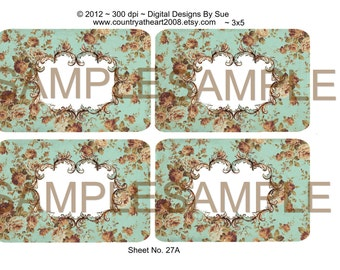 Instant Digital Download - No. 27 - Quality  Printables - Scrapbook - Crafts - Tags