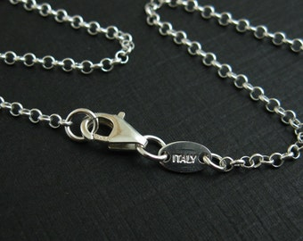 Sterling Silver Necklace - 2mm Rolo Chain Necklace ,ITALY - Extra Long necklace - Finished For Pendant  (32 inches) - SKU: 601005-1