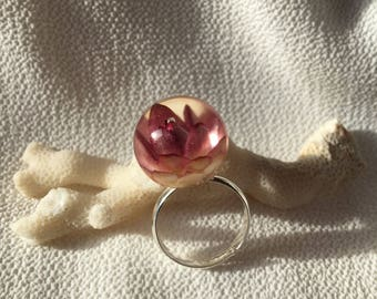 Resin Bud Ring #6 Silver with real bloom in clear resin
