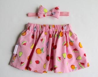 Girl's Pink Skirt, Pink Baby Skirt, Summer Skirt, Baby Skirt Set, Girl's Skirt, Toddler Skirt, Pink Toddler Skirt, Baby Girl Skirt