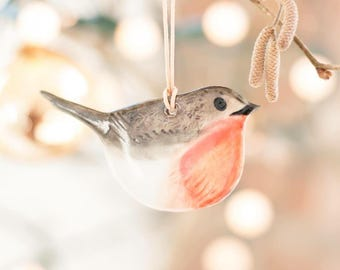 Porcelain Hanging Bird - The Robin