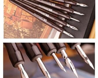 5 Shaft & 5 Nib Set of Dip Pens Calligraphy Pen Fountain Pen Professional Comics Tools Writing Drawing Dip Pen