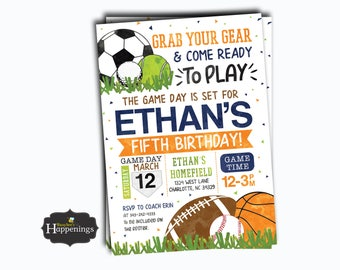 Girl sports invite etsy sports birthday invitation sports invitation ball birthday invite sports party soccer birthday baseball digital file busy filmwisefo Image collections