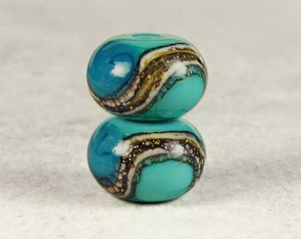 Teal Blue Green Glass Lampwork Beads, Lampwork Bead Pair, Lampwork Glass, Green Beads, Rondelle Beads, 2 Glossy 11x7mm Mermaid