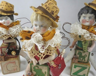 "Art Doll, ""Esther, a Safari Sister"", Assemblage Doll with Antique Doll Parts and Vintage Blocks,"