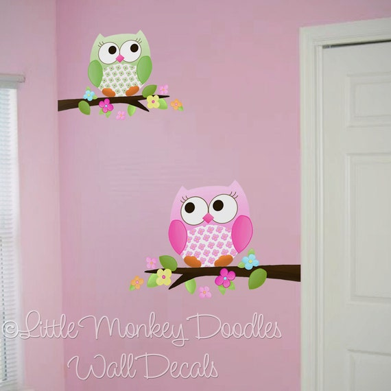 Fabric WALL DECALS Owls Love Flowers Girls Nature Forest